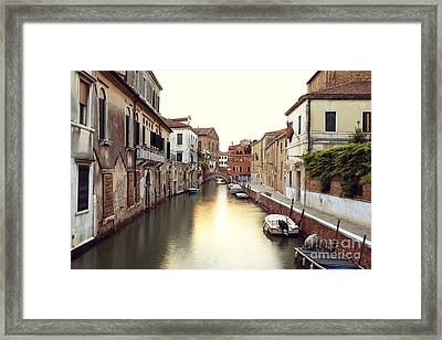 Secluded Canal In Venice Italy Framed Print by Ernst Cerjak