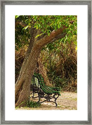 Secluded Park Benches Framed Print by Jess Kraft