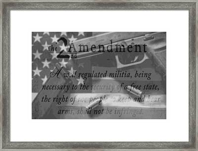 Second Amendment Black And White Framed Print