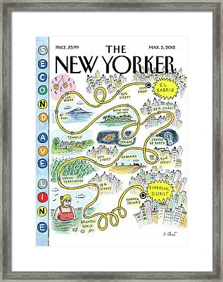 Second Avenue Line Framed Print by Roz Chast