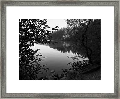 Second Lake Padden Reflection In Black And White  Framed Print by Karen Molenaar Terrell