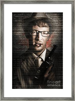 Secret Agent Biting The Bullet Framed Print