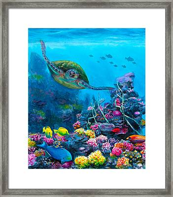 Secret Sanctuary - Hawaiian Green Sea Turtle And Reef Framed Print by Karen Whitworth
