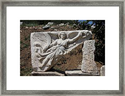 Stone Carving Of The Godness Nike Framed Print by Christiane Schulze Art And Photography