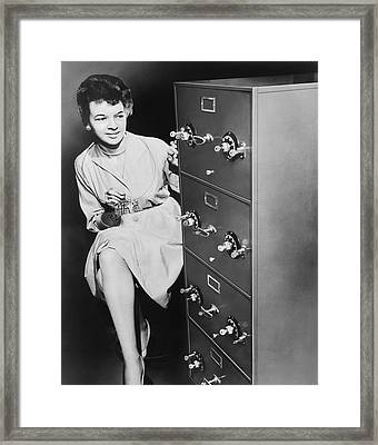 Secure Filing Cabinet Framed Print by Underwood Archives