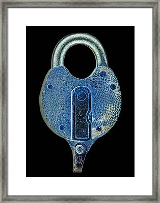 Framed Print featuring the photograph Secure - Lock On Black  by Denise Beverly