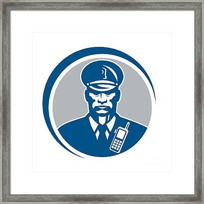 Security Guard Police Officer Radio Circle Framed Print by Aloysius Patrimonio