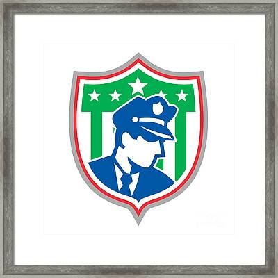 Security Guard Police Officer Shield Framed Print by Aloysius Patrimonio
