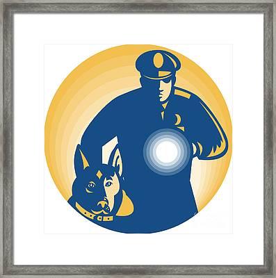Security Guard Policeman Police Dog Framed Print by Aloysius Patrimonio