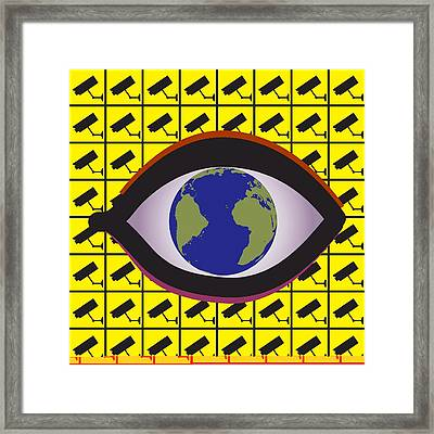 Security Surveillance, Conceptual Image Framed Print
