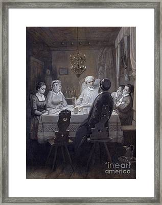 Seder - The Passover Meal Framed Print by Moritz Daniel Oppenheim