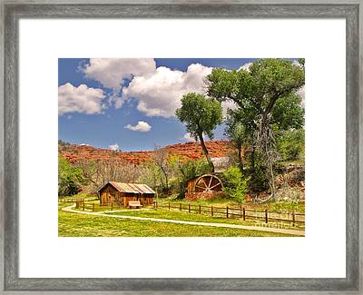 Sedona Arizona Barn And Waterwheel Framed Print by Gregory Dyer