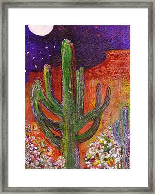 Sedona Arizona Cacti At Night Framed Print