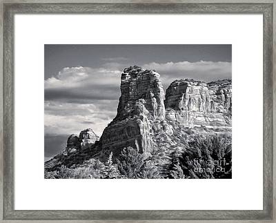 Sedona Arizona Mountain Peak - Black And White Framed Print