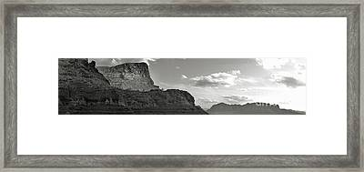 Sedona Arizona Mountains Black And White Panorama Framed Print by Gregory Dyer