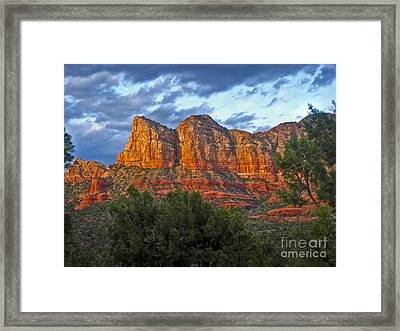 Sedona Arizona Sunset On Mountains Framed Print by Gregory Dyer