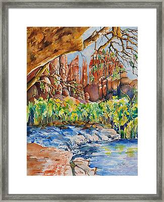 Sedona - Cathedral Rock Framed Print by Joy Skinner