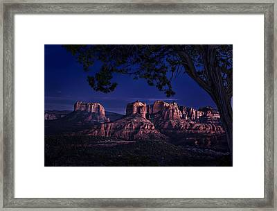Sedona Cathedral Rock Post Sunset Glow Framed Print by Mary Jo Allen