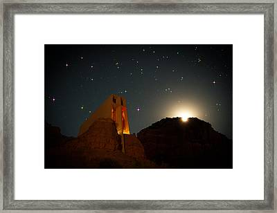 Sedona Chapel Moonrise Vortex Framed Print by Mike Berenson