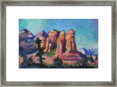 Framed Print featuring the painting Sedona Peaks by Linda Novick