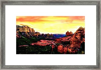 Sedona Red Rocks Sunset Painting Framed Print by Bob and Nadine Johnston