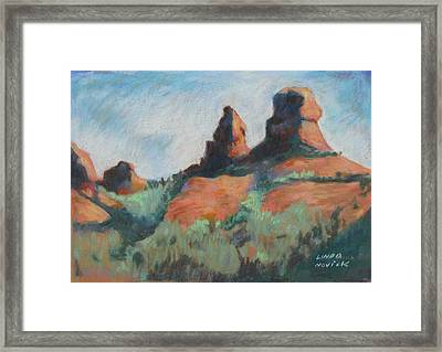 Framed Print featuring the painting Sedona Sisters by Linda Novick