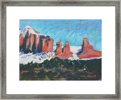 Framed Print featuring the painting Sedona Snowfall by Linda Novick