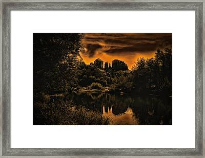 Framed Print featuring the photograph Sedona Sundown ... by Chuck Caramella