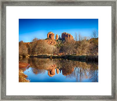 Sedona Winter Reflections Framed Print by Fred Larson