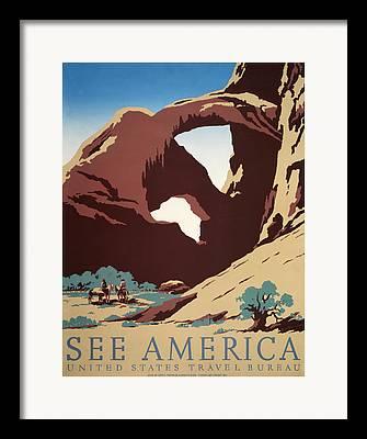 Desert Lake Digital Art Framed Prints