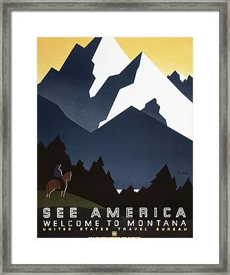 See America - Montana Mountains Framed Print by Georgia Fowler