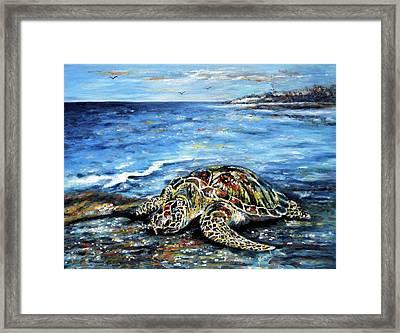 See Weed Turtle Framed Print