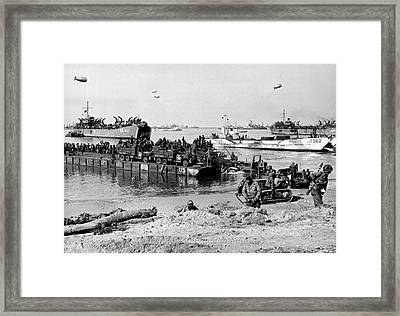 Seebee Rhino Ferries On D-day Framed Print by Underwood Archives