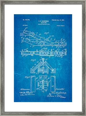 Seeberger Escalator Patent Art 1899 Blueprint Framed Print