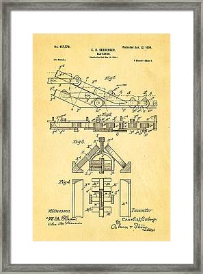 Seeberger Escalator Patent Art 1899 Framed Print by Ian Monk