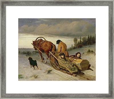 Seeing Off The Dead, 1865 Oil On Canvas Framed Print