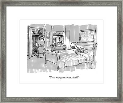 Seen My Gumshoes Framed Print by Michael Crawford