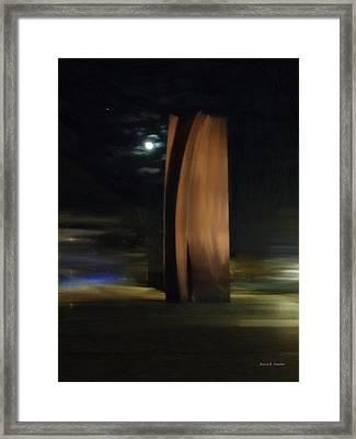 Segerstrom Center For The Arts Sculpture In Moonlight Framed Print