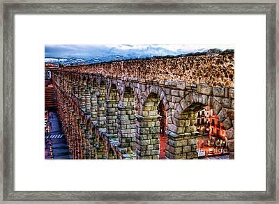Segovia Aqueduct Spain By Diana Sainz Framed Print