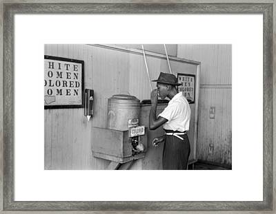 Segregated Drinking Cooler Framed Print by Russell Lee