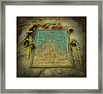 Seige Of Yorktown Memorial Framed Print by Stephen Stookey