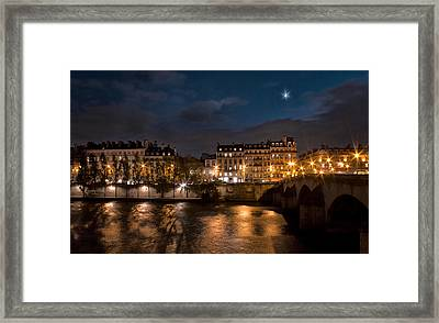 Seine River At Night Framed Print by Radoslav Nedelchev