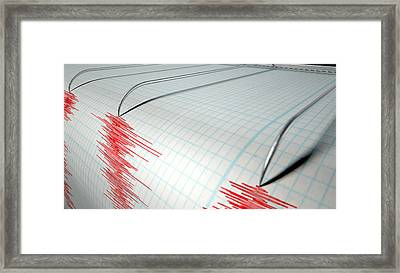 Seismograph Earthquake Activity Framed Print by Allan Swart