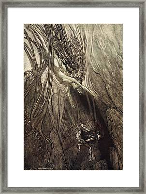 Seize The Despoiler! Rescue The Gold! Framed Print by Arthur Rackham