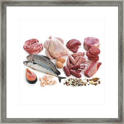 Selection Of Fish And Meats Framed Print