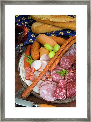 Selection Of French Meat And Sausages Framed Print by Nico Tondini