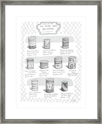 Selections From The Sliced Peach Collection Framed Print by Roz Chast