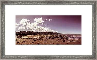Selenium Toned Rocky Beach Landscape Framed Print by Jorgo Photography - Wall Art Gallery