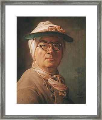 Self Portrait Framed Print by Jean-Baptiste Simeon Chardin