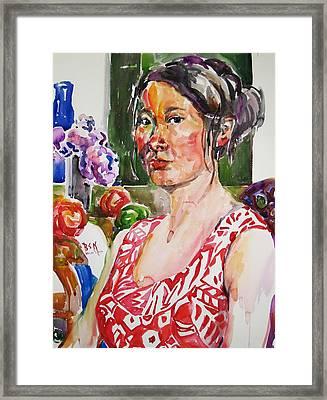Self Portrait 9 - With Still Life Framed Print by Becky Kim